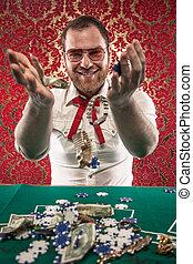 Smiling Man Wins Big Money - A man wearing glasses, a white...