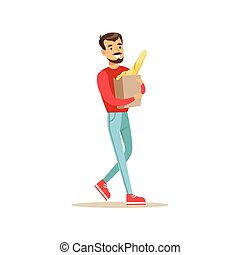 Smiling Man With A Beard Carrying Paper Bag With Fresh Bread Bought In a Bakery Shop Vector Illustration