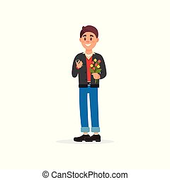 Smiling man with a bouquet of flowers vector Illustration on a white background