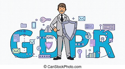 Smiling man with a shield among digital and internet symbols in front of GDPR letters. General Data Protection Regulation. GDPR, RGPD, DSGVO, DPO. Concept vector illustration. Flat style. Horizontal.