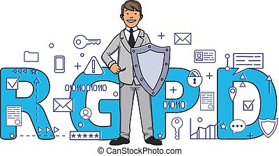 Smiling man with a shield among digital and internet symbols in front of RGPD letters. General Data Protection Regulation. GDPR, RGPD, DSGVO, DPO. Concept vector illustration. Flat style. Horizontal.