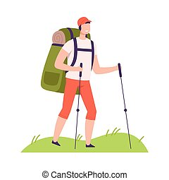 Smiling Man with Backpack and Trekking Pole Walking Vector Illustration. Young Male Engaged in Hiking and Camping Adventure