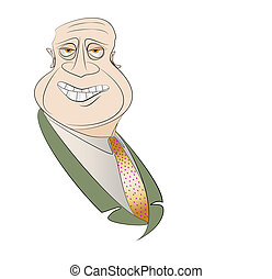 Smiling Man with Beady Eyes Vector