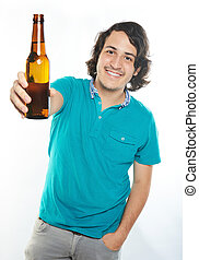 smiling man with beer