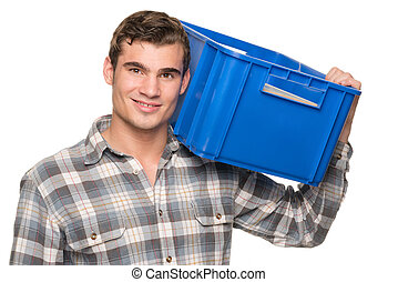Smiling man with blue box