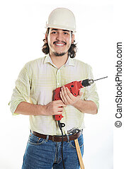 smiling man with drill