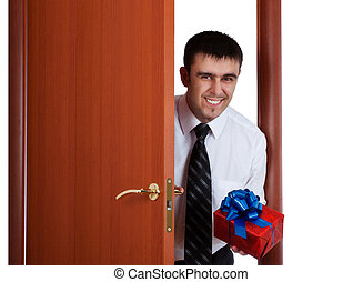smiling man with gift