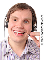 Smiling man with headphones and microphone