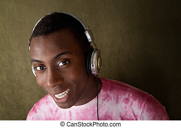 Smiling Man with Headphones