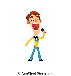 Smiling man with microphone, host of the show vector Illustration on a white background