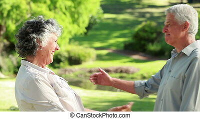 Smiling mature couple embracing each other
