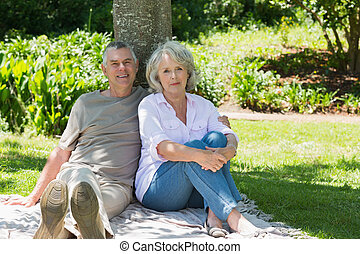 Smiling mature couple sitting again - Portrait of a smiling...