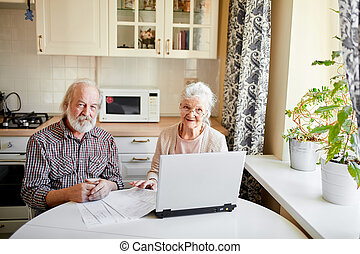 Smiling mature couple with documents and laptop in home interior