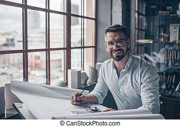 Smiling mature man in the studio