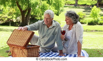 Smiling mature man showing strawberries to his wife in a...