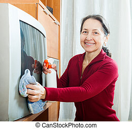 woman wiping the dust on TV