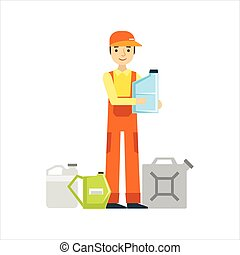Smiling Mechanic With Oils Assortment In The Garage, Car Repair Workshop Service Illustration