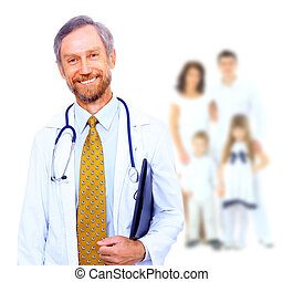Smiling medical doctor and family