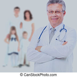 Smiling medical doctor and family.