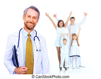 Smiling medical doctor and happy family