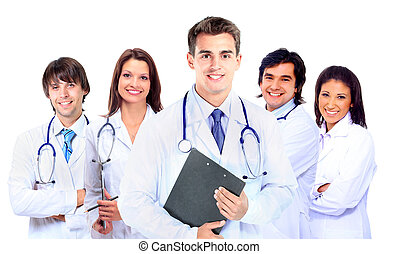 Smiling medical doctor with stethoscope. Isolated over white...