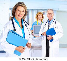 Smiling medical doctor woman. - Smiling family doctor woman...