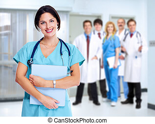 Smiling medical doctor woman.