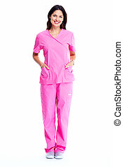 Smiling medical doctor woman with stethoscope. Isolated over...