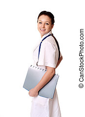 Smiling medical doctor woman with stethoscope