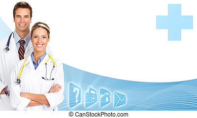 Smiling medical doctors group. - Smiling family doctors with...