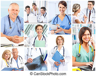 doctors - Smiling medical doctors with stethoscope.