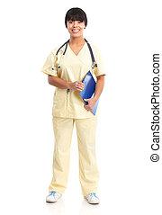 medical nurse - Smiling medical nurse with stethoscope. ...