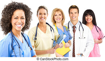 Smiling medical nurse with stethoscope. Isolated over white ...