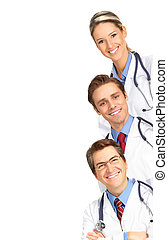 Smiling medical people with stethoscopes. Isolated over ...