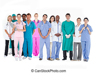 Smiling medical team of doctors nurses and surgeons on white...