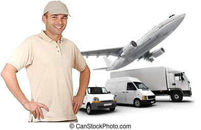 Smiling messenger against a transportation fleet