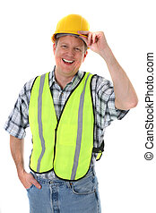 Smiling Mid-age Construction Worker Holding Hardhat Portrait Isolated