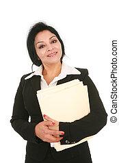Smiling Mid-age Hispanic Businesswoman Isolated