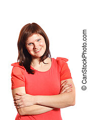 smiling middle age woman on a white background