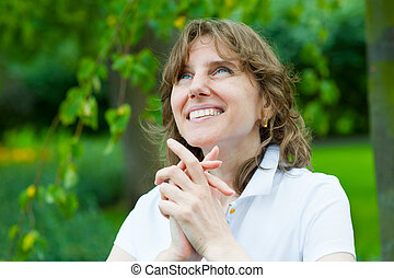 Smiling middle age woman portrait