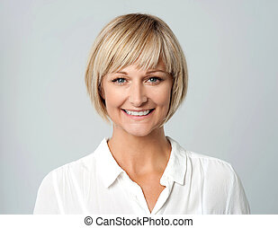 Smiling middle aged lady, studio sh - Attractive woman with...