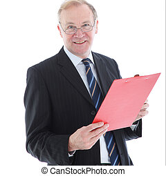 Smiling middle-aged man with clipboard