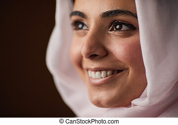 Smiling Middle-Eastern Woman Close Up