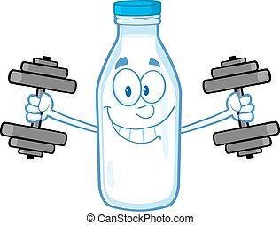 Smiling Milk Bottle With Dumbbells