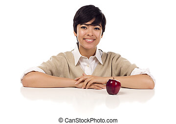 Smiling Mixed Race Young Adult Female Sitting with Apple