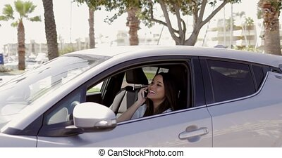 Smiling model talking phone in car - Young pretty and...