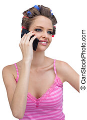 Smiling model with phone