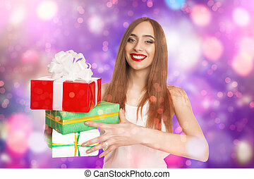 Smiling model with presents