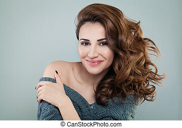 Smiling Model Woman with Red Curly Hair