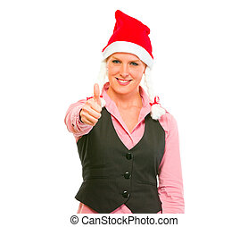 Smiling modern business woman in Santa Hat showing thumbs up